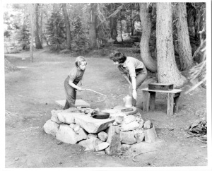 Shirley West and daughter Deborah. Gold Lake campground, early 1950's