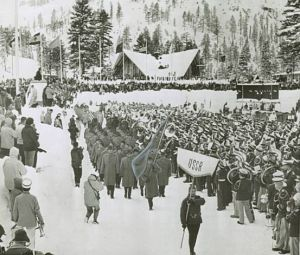 USSR Athletes enter the arena at 1960 Winter Olympics in Squaw Valley